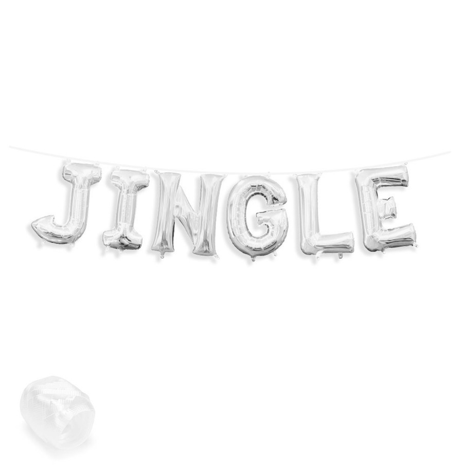 "View larger image of Air-Fillable 13"" Silver Letter Balloon Banner Kit ""JINGLE"""