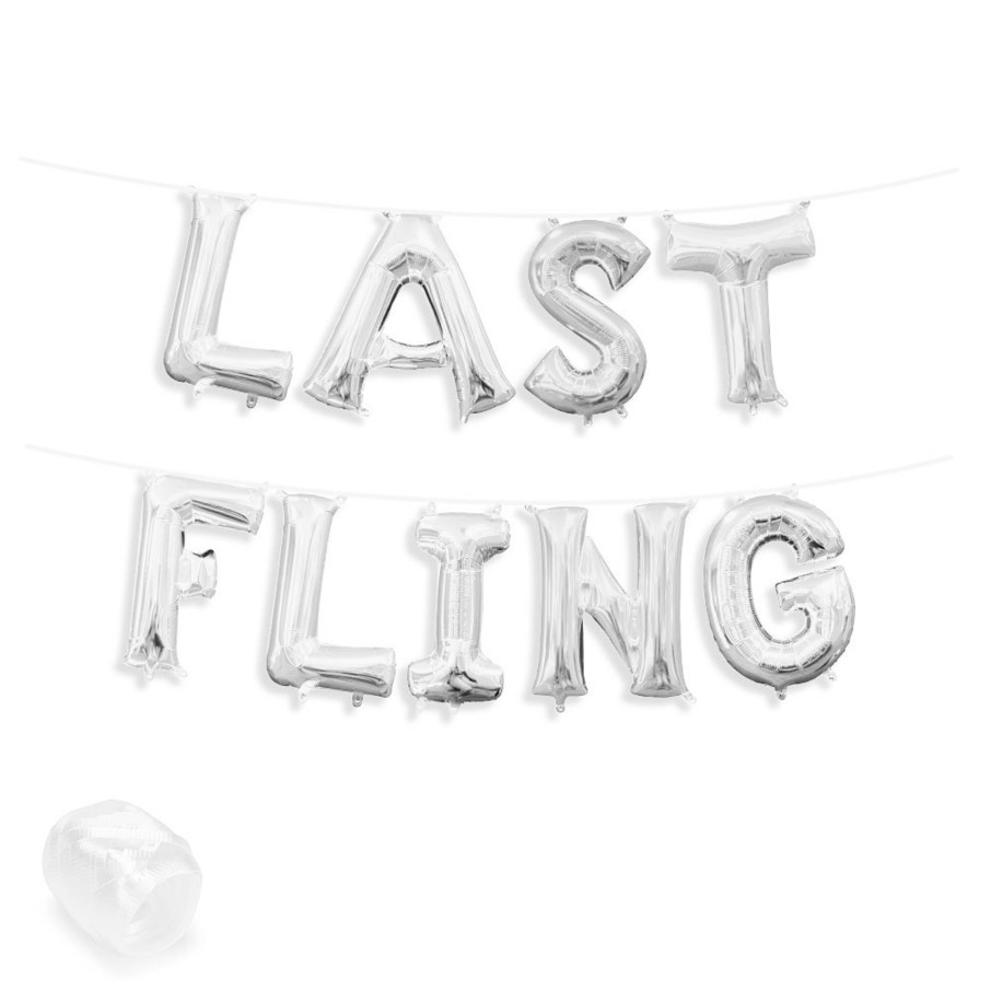 """View larger image of Air-Fillable 13"""" Silver Letter Balloon Banner Kit """"LAST FLING"""""""