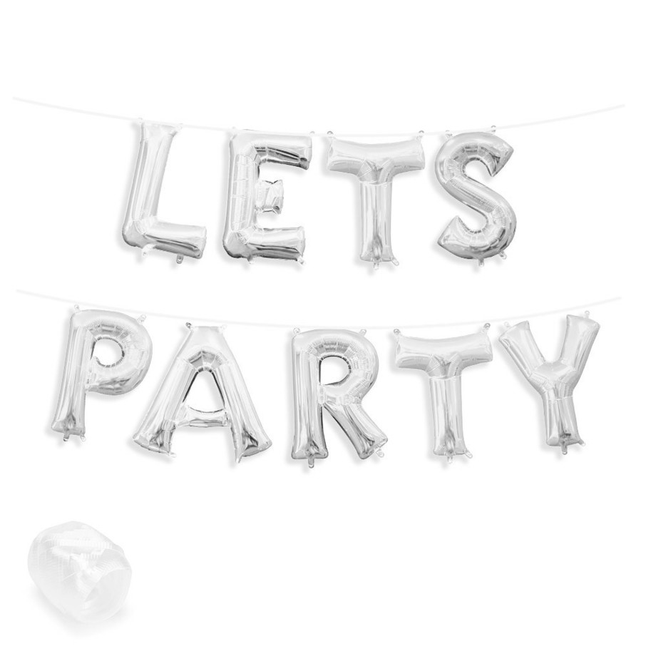 "View larger image of Air-Fillable 13"" Silver Letter Balloon Banner Kit ""LETS PARTY"""