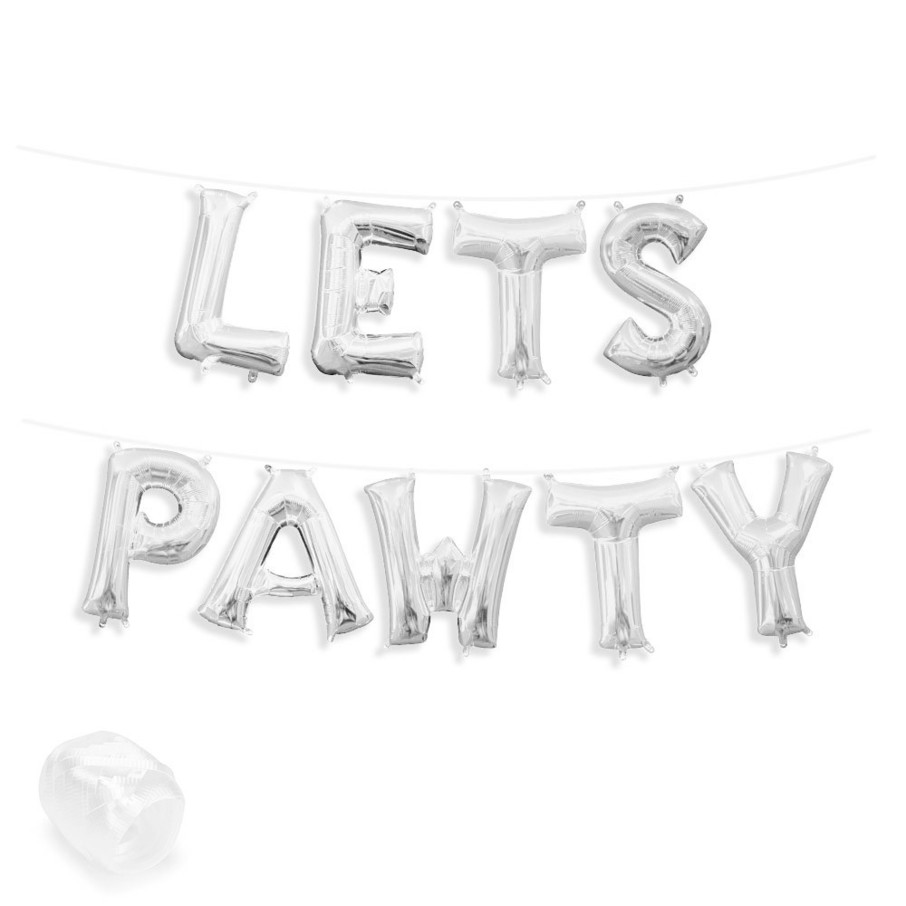 """View larger image of Air-Fillable 13"""" Silver Letter Balloon Banner Kit """"LETS PAWTY"""""""