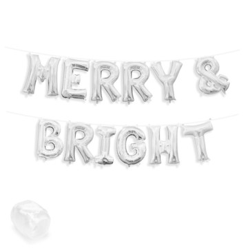 "Air-Fillable 13"" Silver Letter Balloon Banner Kit ""MERRY & BRIGHT"""