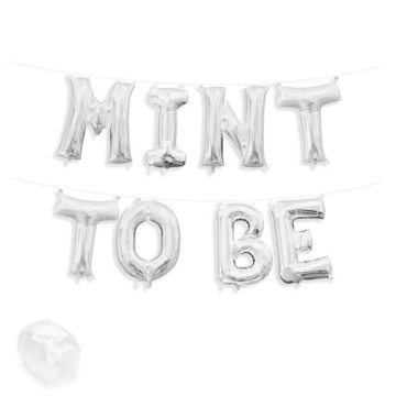 """Air-Fillable 13"""" Silver Letter Balloon Banner Kit """"MINT TO BE"""""""