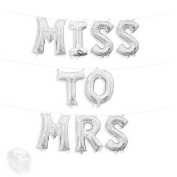 """Air-Fillable 13"""" Silver Letter Balloon Banner Kit """"MISS TO MRS"""""""
