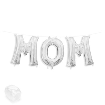 "Air-Fillable 13"" Silver Letter Balloon Banner Kit ""MOM"""