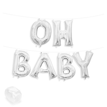"Air-Fillable 13"" Silver Letter Balloon Banner Kit ""OH BABY"""