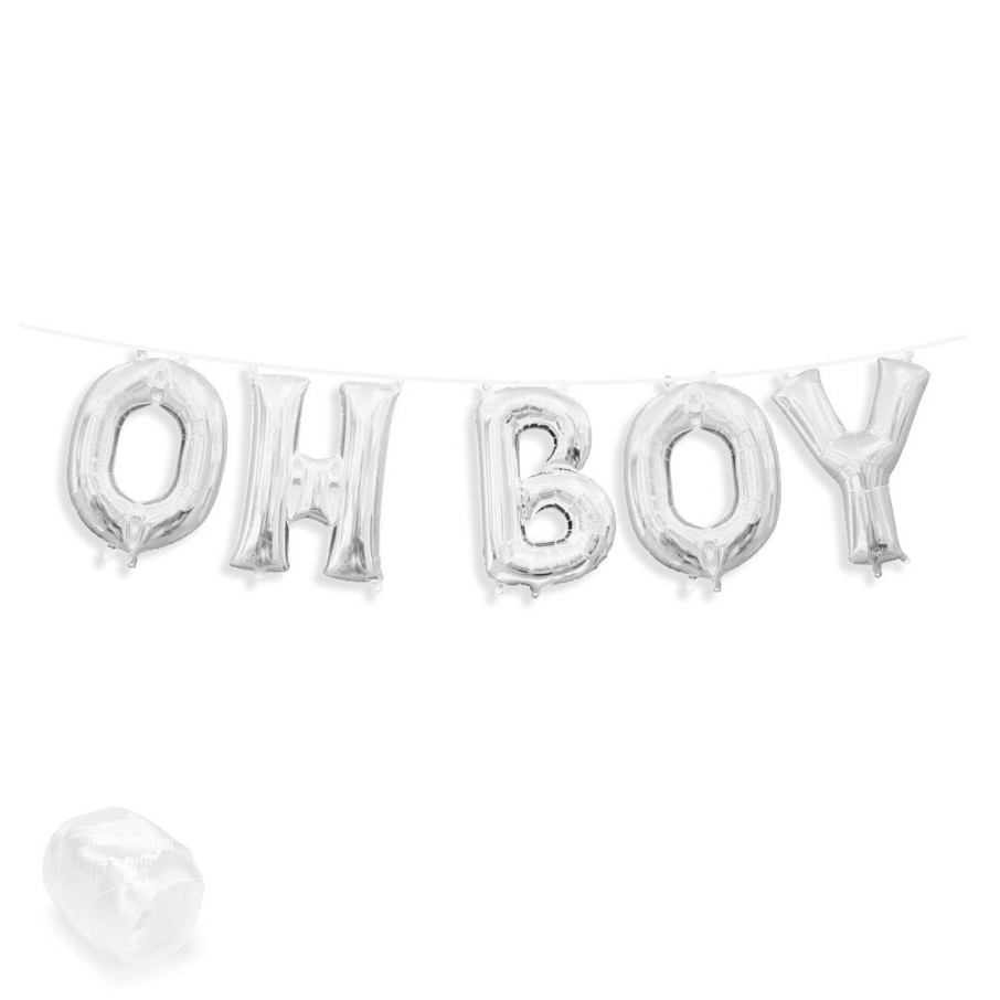"View larger image of Air-Fillable 13"" Silver Letter Balloon Banner Kit ""OH BOY"""