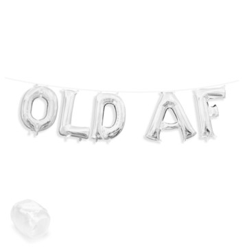 "Air-Fillable 13"" Silver Letter Balloon Banner Kit ""OLD AF"""