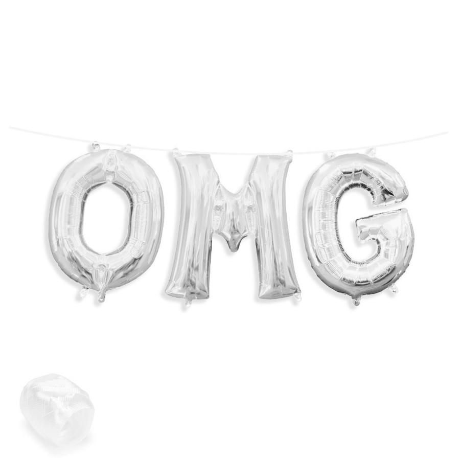 "View larger image of Air-Fillable 13"" Silver Letter Balloon Banner Kit ""OMG"""