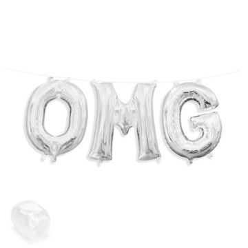 "Air-Fillable 13"" Silver Letter Balloon Banner Kit ""OMG"""