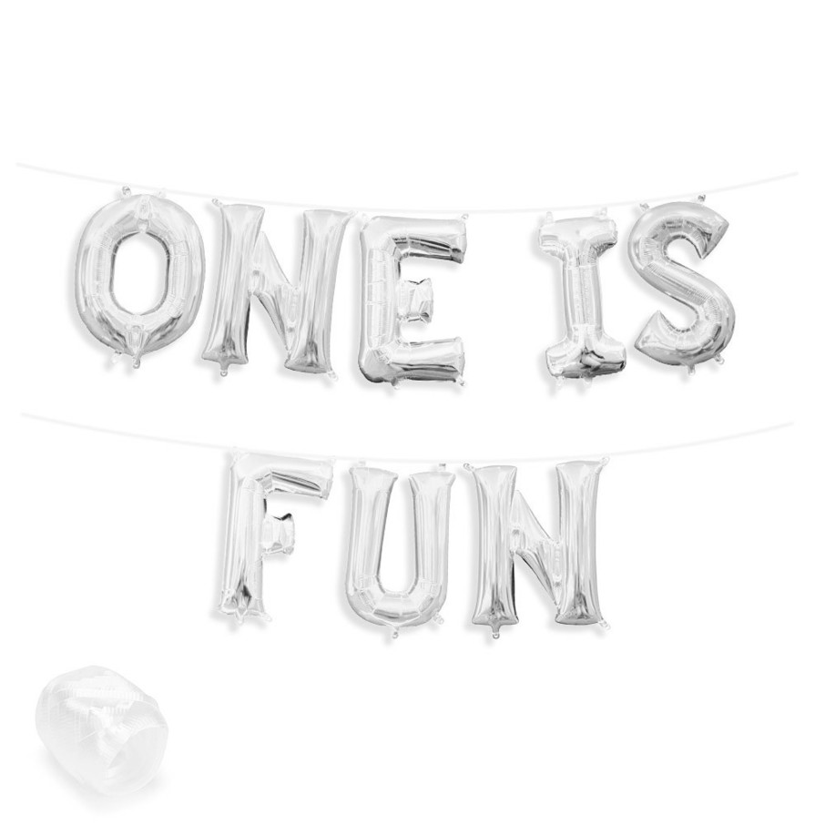 "View larger image of Air-Fillable 13"" Silver Letter Balloon Banner Kit ""ONE IS FUN"""