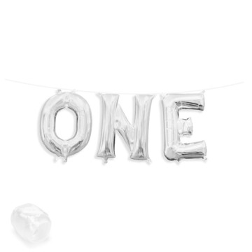 "Air-Fillable 13"" Silver Letter Balloon Banner Kit ""ONE"""