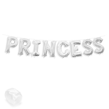 "Air-Fillable 13"" Silver Letter Balloon Banner Kit ""PRINCESS"""