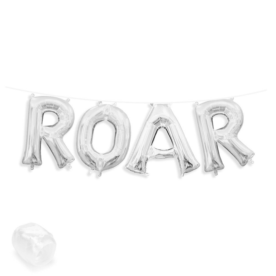 "View larger image of Air-Fillable 13"" Silver Letter Balloon Banner Kit ""ROAR"""
