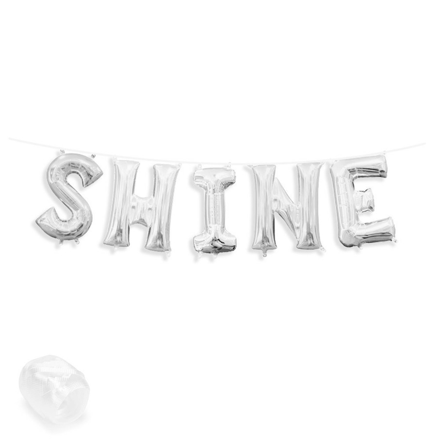 "View larger image of Air-Fillable 13"" Silver Letter Balloon Banner Kit ""SHINE"""