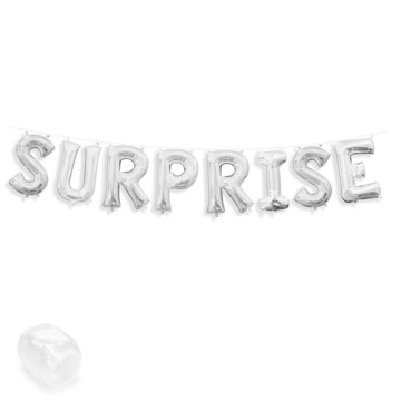 "Air-Fillable 13"" Silver Letter Balloon Banner Kit ""SURPRISE"""