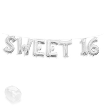 "Air-Fillable 13"" Silver Letter Balloon Banner Kit ""SWEET 16"""