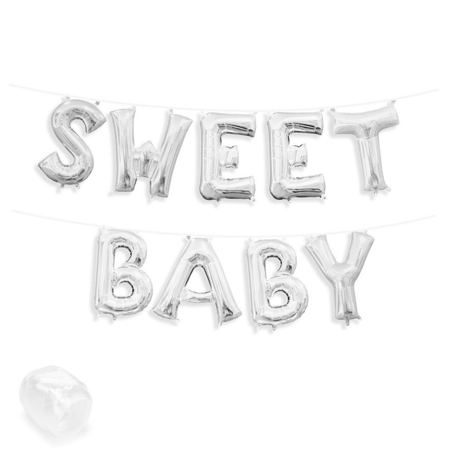 "View larger image of Air-Fillable 13"" Silver Letter Balloon Banner Kit ""SWEET BABY"""
