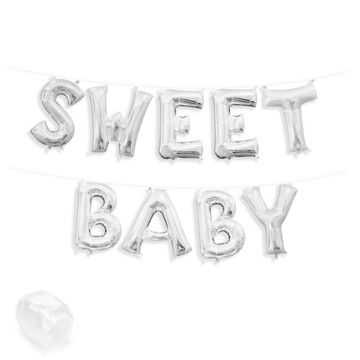 "Air-Fillable 13"" Silver Letter Balloon Banner Kit ""SWEET BABY"""