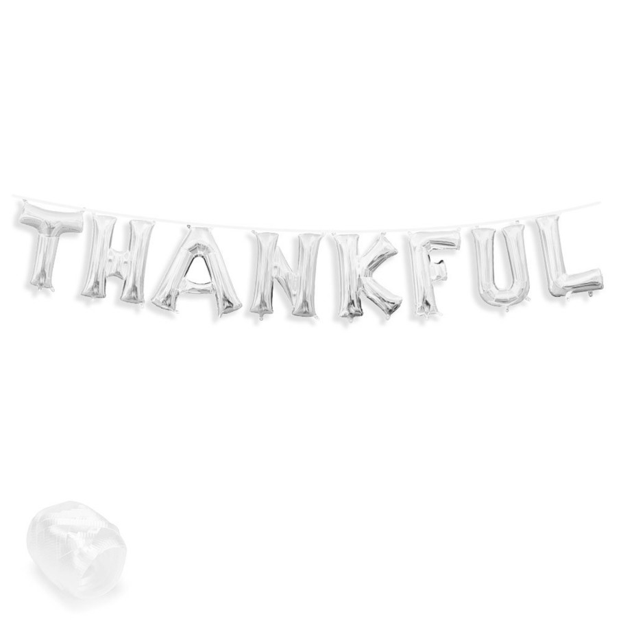 "View larger image of Air-Fillable 13"" Silver Letter Balloon Banner Kit ""THANKFUL"""