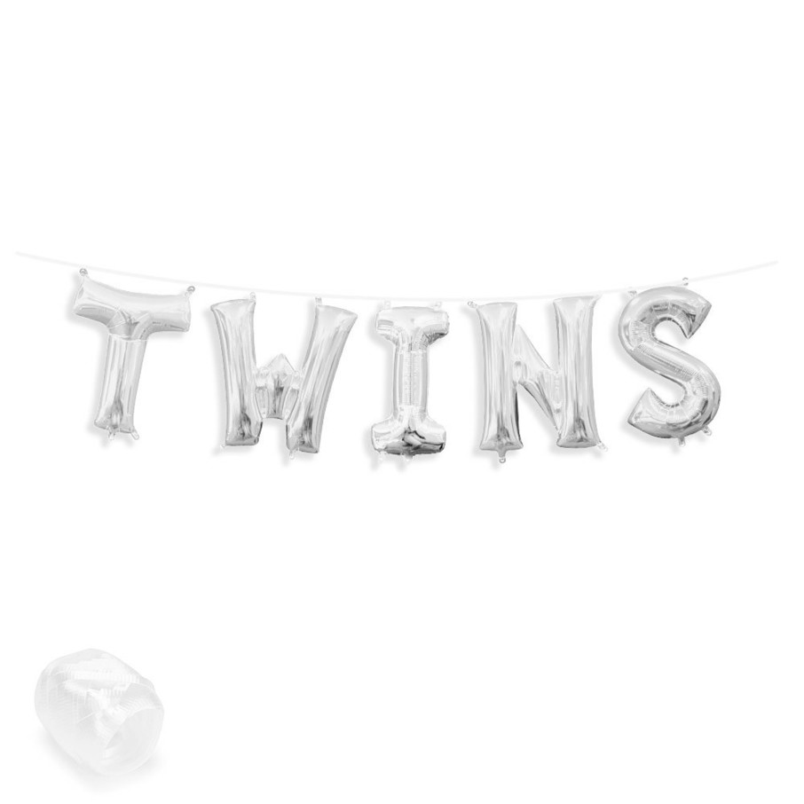 """View larger image of Air-Fillable 13"""" Silver Letter Balloon Banner Kit """"TWINS"""""""