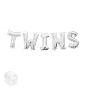 "Air-Fillable 13"" Silver Letter Balloon Banner Kit ""TWINS"""