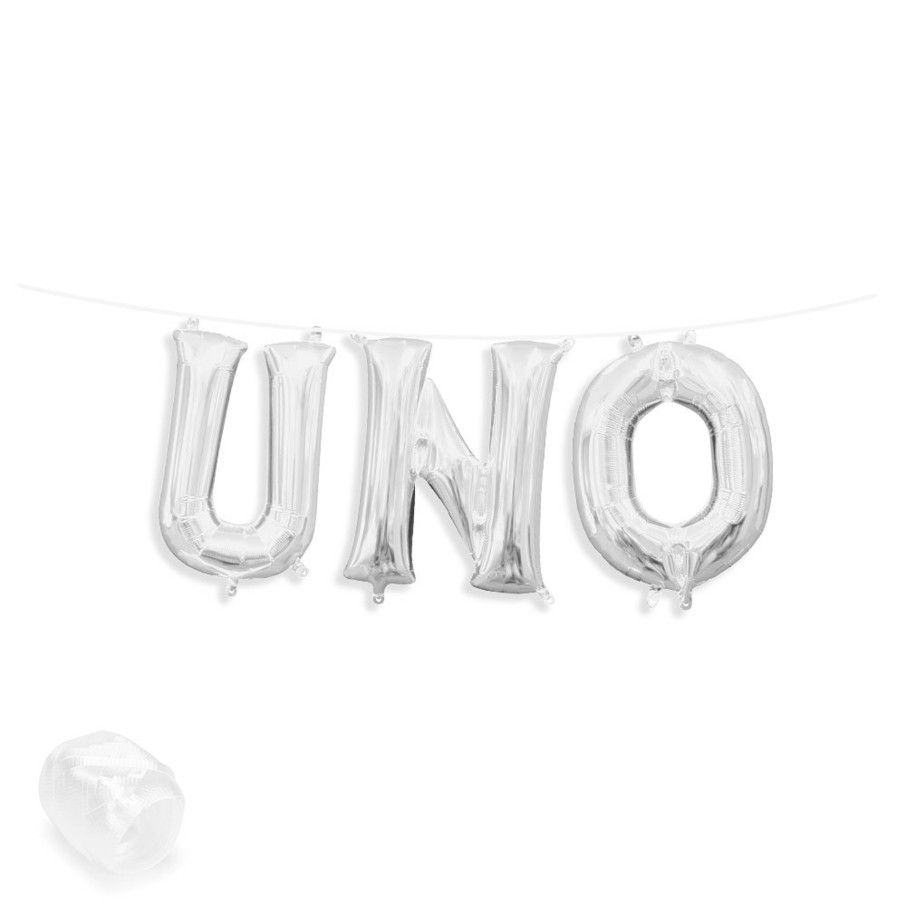 "View larger image of Air-Fillable 13"" Silver Letter Balloon Banner Kit ""UNO"""