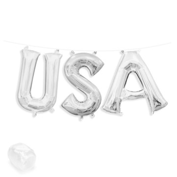 "Air-Fillable 13"" Silver Letter Balloon Banner Kit ""USA"""