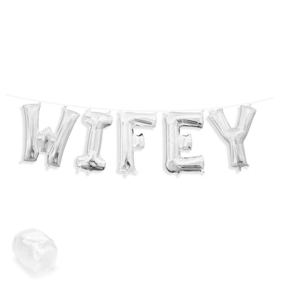 """View larger image of Air-Fillable 13"""" Silver Letter Balloon Banner Kit """"WIFEY"""""""