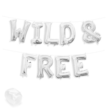 "Air-Fillable 13"" Silver Letter Balloon Banner Kit ""WILD & FREE"""