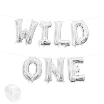 "Air-Fillable 13"" Silver Letter Balloon Banner Kit ""WILD ONE"""