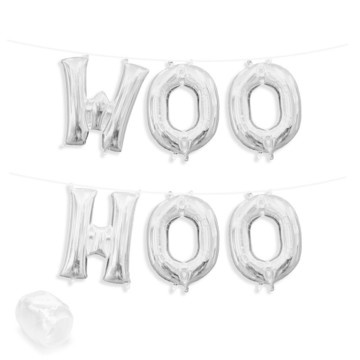 "Air-Fillable 13"" Silver Letter Balloon Banner Kit ""WOO HOO"""