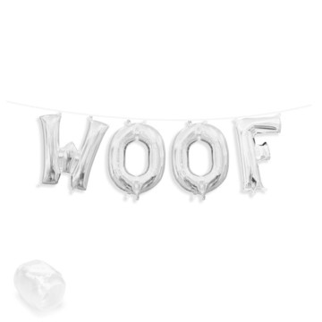 "Air-Fillable 13"" Silver Letter Balloon Banner Kit ""WOOF"""