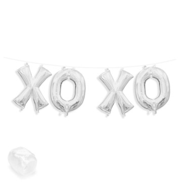 "Air-Fillable 13"" Silver Letter Balloon Banner Kit ""XOXO"""