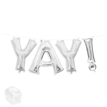 "Air-Fillable 13"" Silver Letter Balloon Banner Kit ""YAY!"""