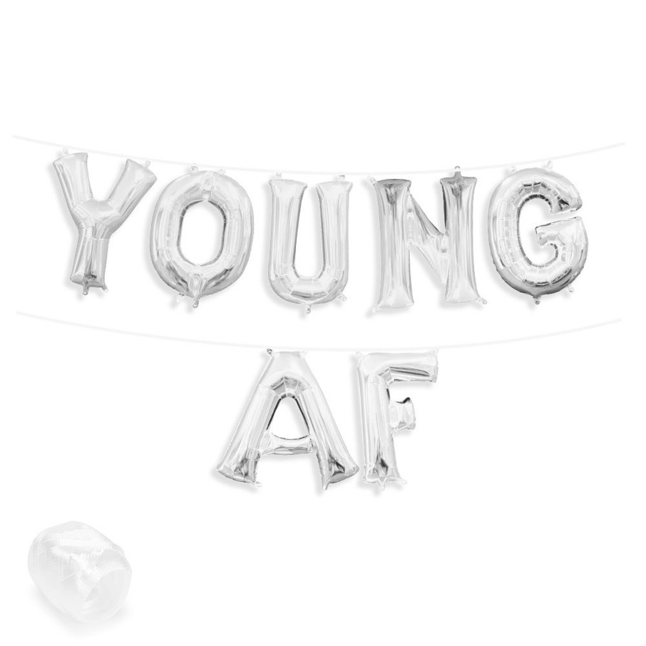 """View larger image of Air-Fillable 13"""" Silver Letter Balloon Banner Kit """"YOUNG AF"""""""
