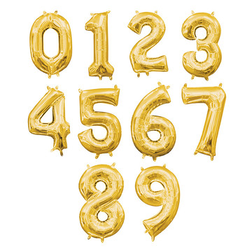 Air-Filled Gold Number Balloon