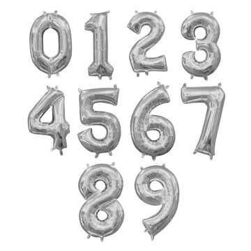 Air-Filled Silver Number Balloon