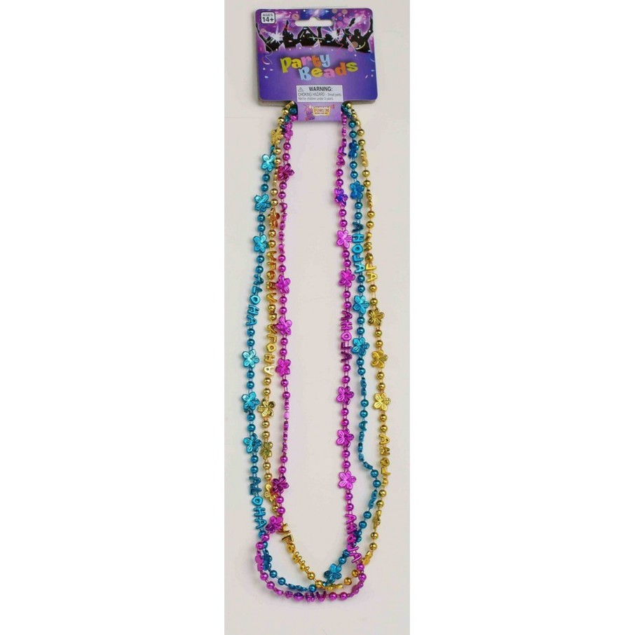 View larger image of Aloha Floral Metallic Gold, Turquise & Pink Bead Necklaces (3 Count)