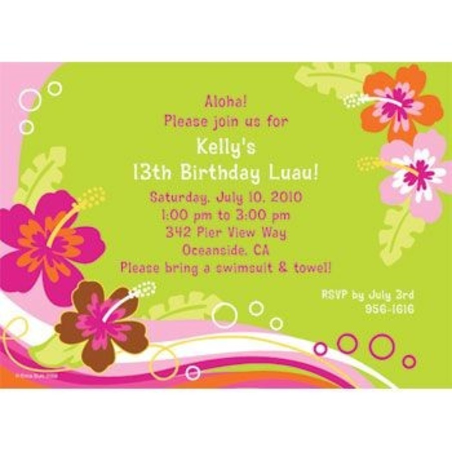 View larger image of Aloha Luau Personalized Invitation (each)