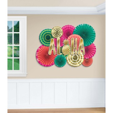 Aloha Paper Fan Decoration Kit (17 Pieces)