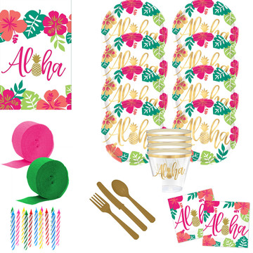 Aloha Pineapple Deluxe Tableware Kit (Serves 16)