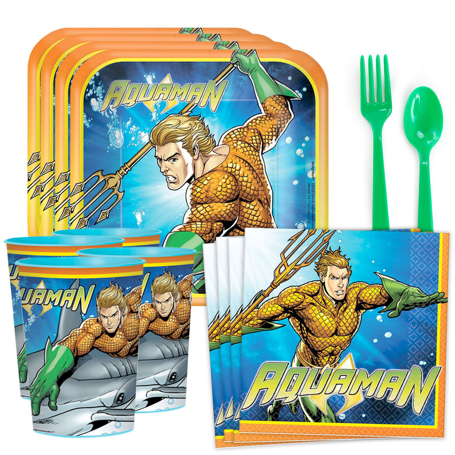 View larger image of Aquaman Standard Tableware Kit (Serves 8)