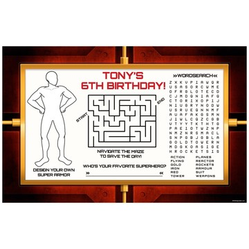 Armour Man Personalized Activity Mat (8 Pack)