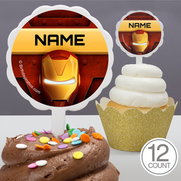 Armour Man Personalized Cupcake Picks (12 Count)