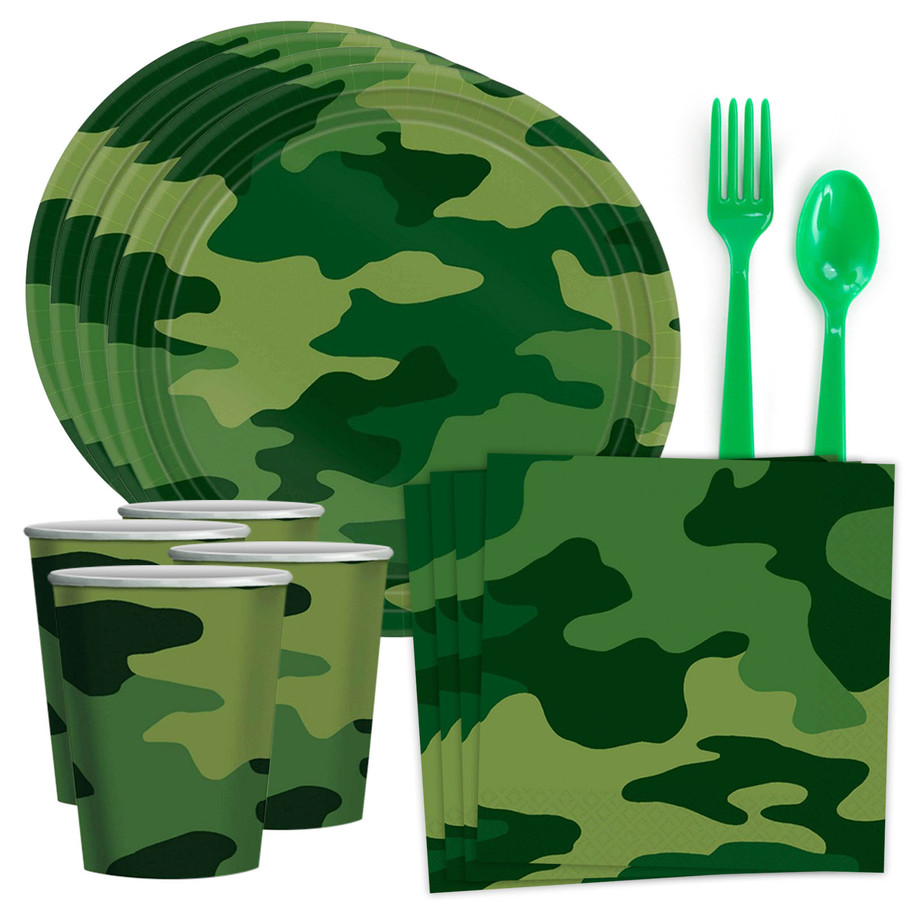 View larger image of Army Camo Standard Tableware Kit (Serves 8)