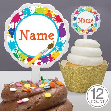 Art Party Personalized Cupcake Picks (12 Count)