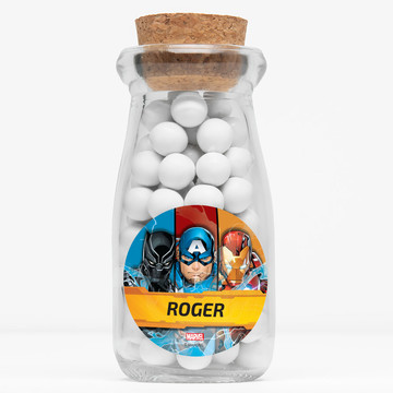 """Avengers Personalized 4"""" Glass Milk Jars (12 Count)"""