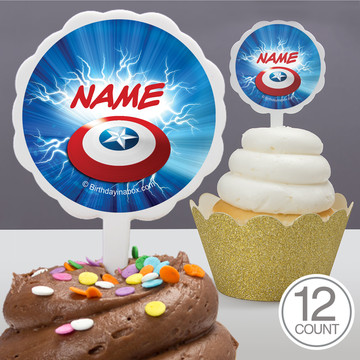 Avenging Heroes Personalized Cupcake Picks (12 Count)