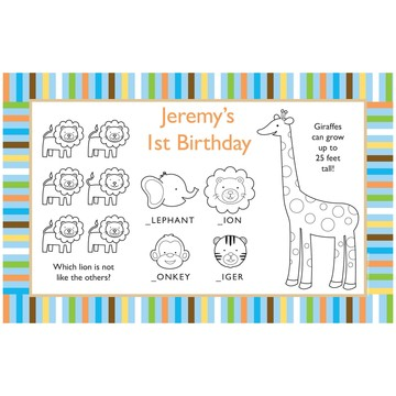Baby Animals 1st Birthday Boy Personalized Activity Mats (8-Pack)