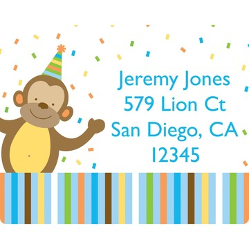 Baby Animals 1st Birthday Boy Personalized Address Labels (Sheet of 15)